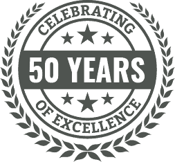 50 years shield logo